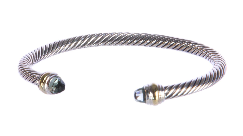 cef7e9b9a05d6 DAVID YURMAN Women s Cable Classics Bracelet Prasiolite   14K Gold 5mm  625  NEW